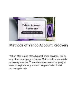 Methods of Yahoo Account Recovery