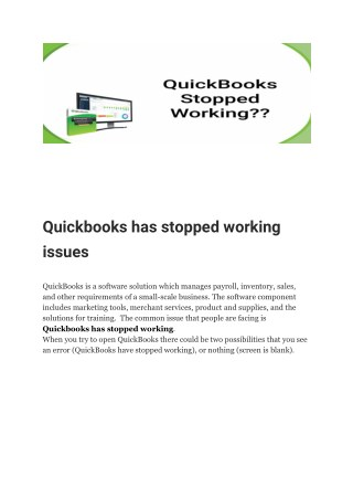 Quickbooks has stopped working issues
