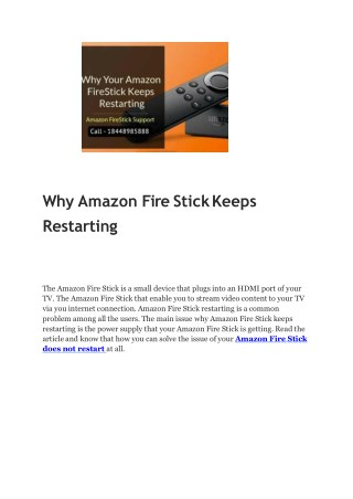 Why Amazon Fire StickKeeps Restarting