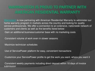 Warrantech Is Proud To Partner With American Residential Warranty