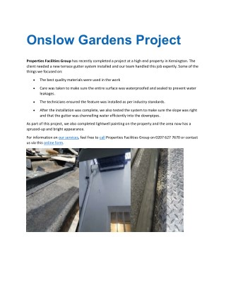 Property Facilities Group For Onslow Gardens Project