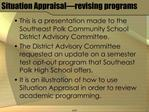 Situation Appraisal revising programs