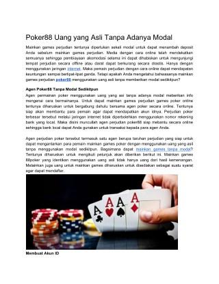 Ppt A Poker Uang Yang Asli Tanpa Adanya Modal Powerpoint Presentation Id 8006205