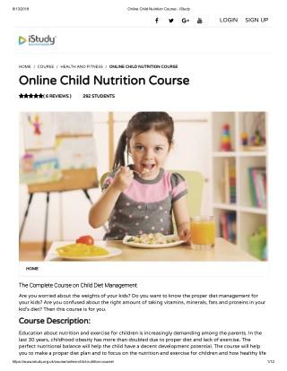 Online Child Nutrition Course - istudy