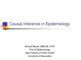 Causal Inference in Epidemiology
