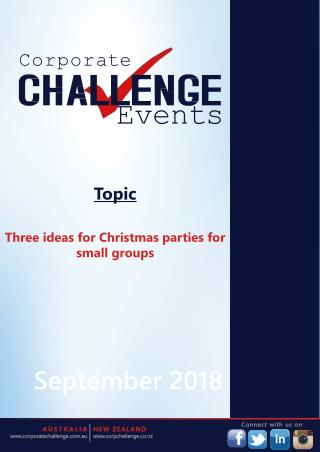 Three ideas for Christmas parties for small groups
