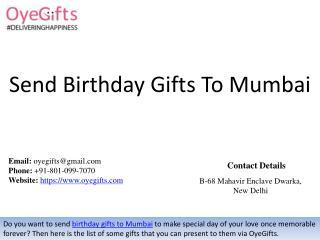 Send Birthday Gifts To Mumbai