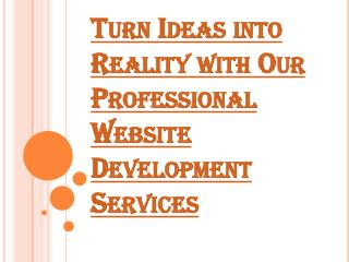 An Outline of Professional Website Development Services