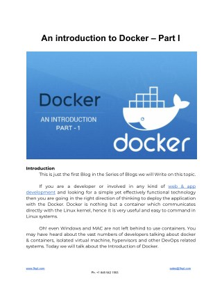 An introduction to Docker – Part I