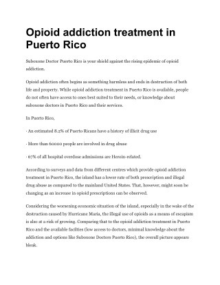 Opioid addiction treatment in Puerto Rico