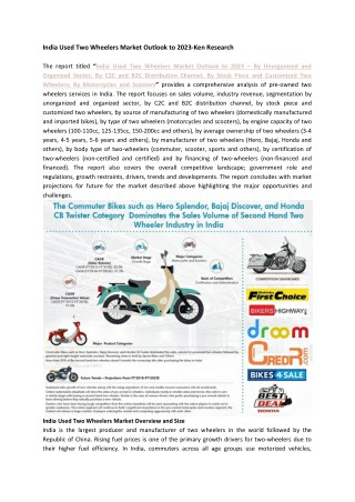 Number of Unorganized Used Two Wheeler Dealers, List of Organized Dealers Used Two Wheelers India-Ken Research