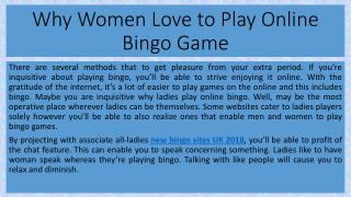 Why Women Love to Play Online Bingo Game