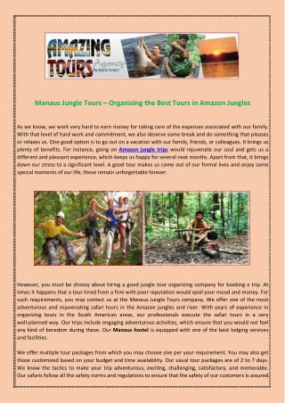 Manaus Jungle Tours – Organizing the Best Tours in Amazon Jungles