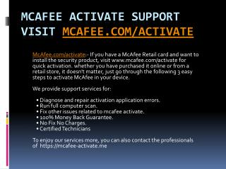 Mcafee Antivirus Download, Install and Activate- mcafee.com/activate