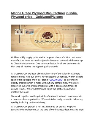 Marine Grade Plywood Manufacturer in India, Plywood price -Goldwood Ply