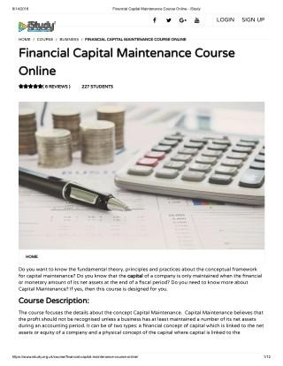 Financial Capital Maintenance Course Online - istudy