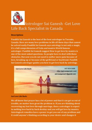 Astrologer Sai Ganesh -Get Love Life Back Specialist in Canada.