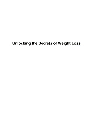 Unlocking the Secrets of Weight Loss