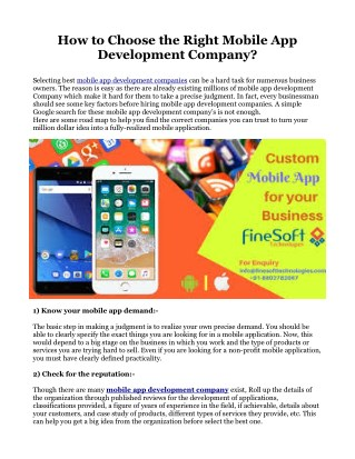 How to Choose the Right Mobile App Development Company?