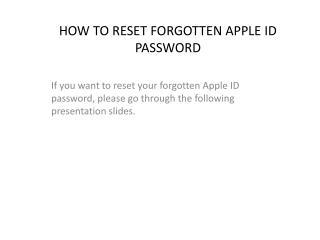 Method to reset forgotten Apple ID and Password