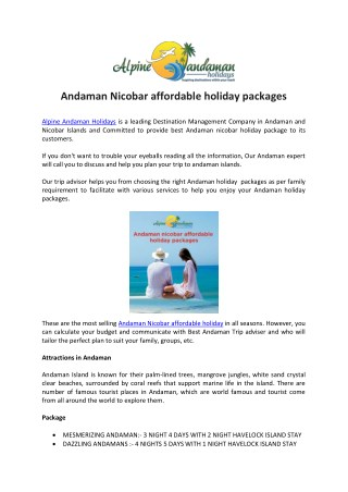 Andaman Nicobar affordable holiday packages