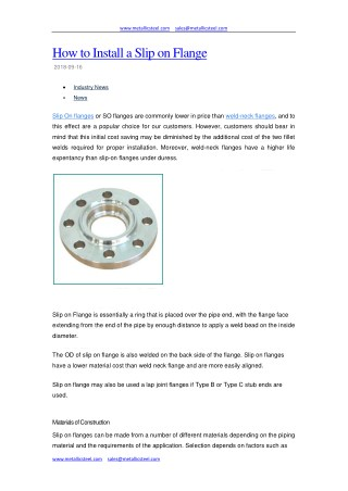 How to Install a Slip on Flange