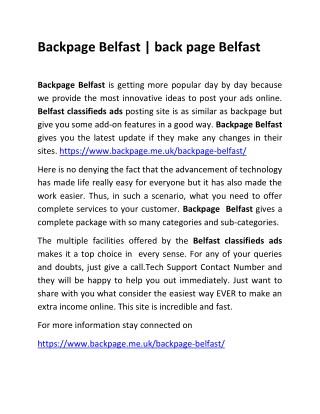 Backpage Belfast !