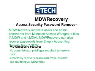 MDWRecovery - Access Security Password Remover