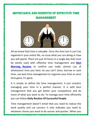 Importance and Benefits of Effective Time Management