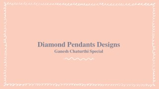 Diamond Pendants Designs