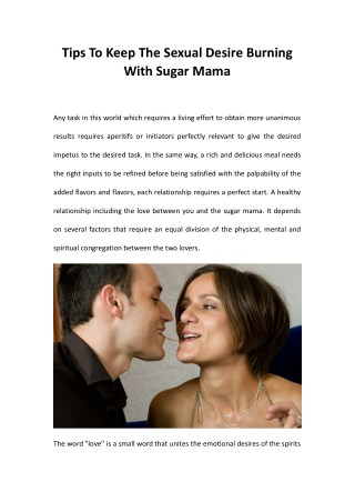 Tips To Keep The Sexual Desire Burning With Sugar Mama
