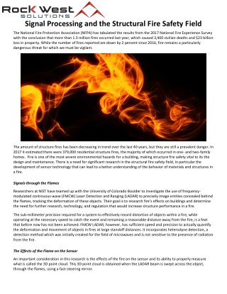 Signal Processing and the Structural Fire Safety Field