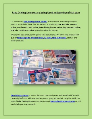 Fake Driving Licenses are being Used in Every Beneficial Way