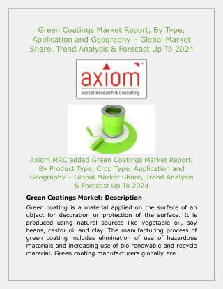 Green Coatings Market Key Players and Production Information analysis 2018