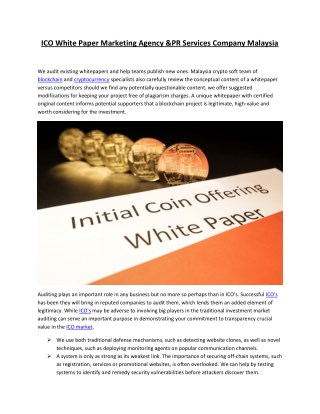 ICO White Paper Marketing Agency &PR Services Company Malaysia