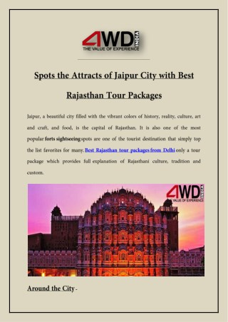 Spots the Attracts of Jaipur City with Best Rajasthan Tour Packages