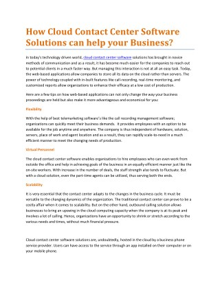 How Cloud Contact Center Software Solutions can help your Business?