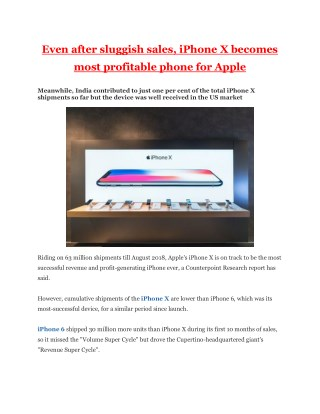 Even After Sluggish Sales, iPhone X Becomes Most Profitable Phone for Apple