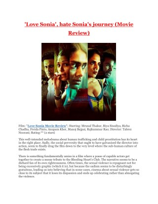 'Love Sonia', Hate Sonia's Journey (Movie Review)