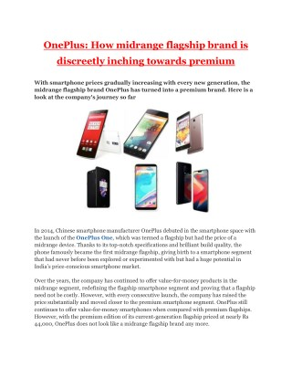 OnePlus - How Midrange Flagship Brand is Discreetly Inching Towards Premium