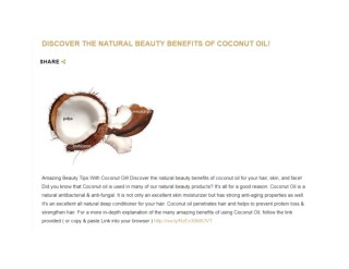 DISCOVER THE NATURAL BEAUTY BENEFITS OF COCONUT OIL | SMART LIVING BY LAKE | HEALTHY LIFESTYLE BLOG