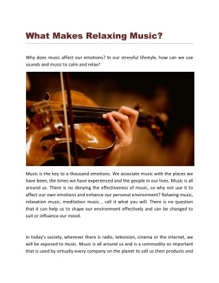 What Makes Relaxing Music?