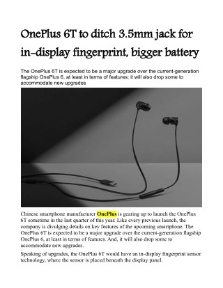 OnePlus 6T to ditch 3.5mm jack for in-display fingerprint, bigger battery