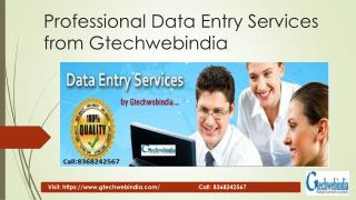 Professional Data Entry Services by Gtechwebindia
