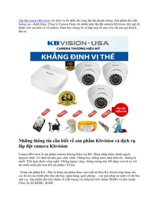 Lap dat camera kbvision chinh hang, nhanh chong