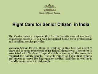 Right Care for Senior Citizen in India