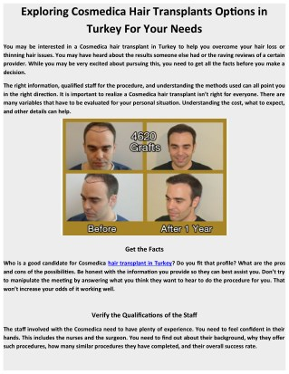Exploring Cosmedica Hair Transplants Options in Turkey For Your Needs
