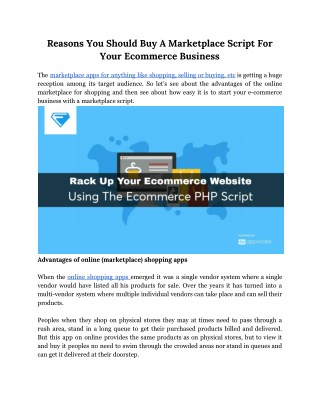 Reasons You Should Buy A Marketplace Script For Your Ecommerce Business