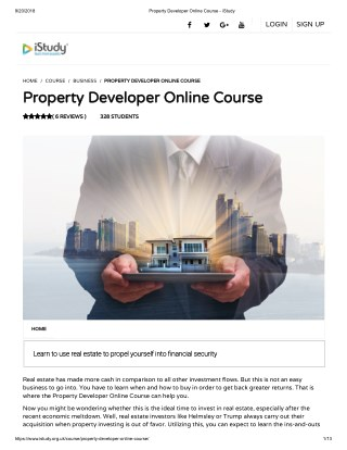 Property Developer Online Course - istudy