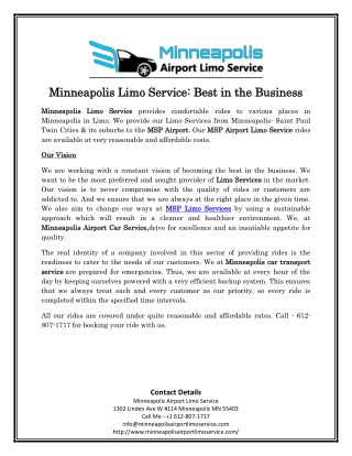 Minneapolis Limo Service: Best in the Business